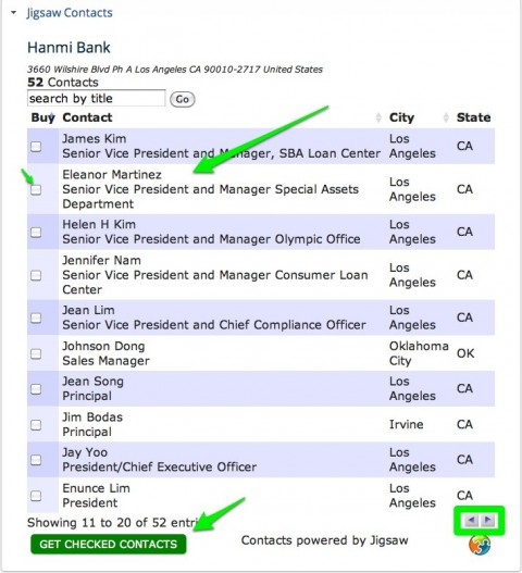 list of bank officers screenshot bankprospector