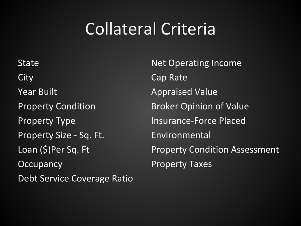 note buying - collateral criteria